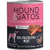 Hound & Gatos 98% Paleolithic Meat Grain-Free Dog Food, 13-oz, case of 12