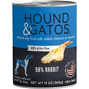 Hound & Gatos 98% Rabbit Grain-Free Canned Dog Food, 13-oz, case of 12