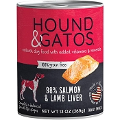 Hound & Gatos 98% Salmon & Lamb Liver Grain-Free Canned Dog Food, 13-oz, case of 12