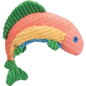 HuggleHounds Knottie Rainbow Trout Durable Squeaky Plush Dog Toy, Large
