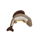 HuggleHounds Knottie Tiger Trout Durable Squeaky Plush Dog Toy, Small