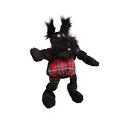 Hugglehounds Holiday Tartan Scotch Scottie Knottie Dog Toy, Small