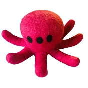Lollycadoodle Octopus Boiled Wool Dog Toy, Large