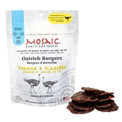 Mosaic Ostrich Burgers Banana & Flaxseed Exotic Dog Treats, 4-oz pouch