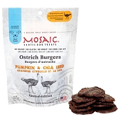 Mosaic Ostrich Burgers Pumpkin & Chia Seed Exotic Dog Treats, 4-oz pouch
