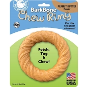 Pet Qwerks BarkBone Chew Ring with Peanut Butter Flavoring USA Dog Chew Toy, Large