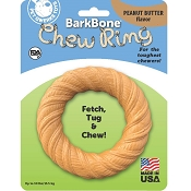 Pet Qwerks BarkBone Chew Ring with Peanut Butter Flavoring USA Dog Chew Toy, Medium