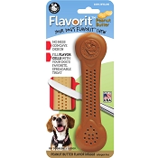 Pet Qwerks Flavorit Peanut Butter Flavored Nylon Bone USA Dog Chew Toy, Large