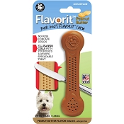 Pet Qwerks Flavorit Peanut Butter Flavored Nylon Bone USA Dog Chew Toy, Medium