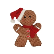 Petlou Holiday Christmas Gingerbread Man Plush Dog Toy, 14-Inch