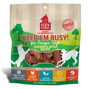 Plato Keep Em' Busy Chicken & Apple Toy Refill Dog Treats, Large, 5-oz bag