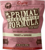 Primal Turkey and Sardine Formula Nuggets Freeze Dried Dog Food