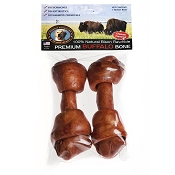 Tasman's Chicken Flavored USA Bison Rawhide Knotted Bone Dog Chew Medium, Pack of 2