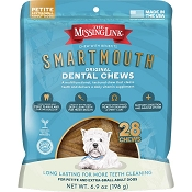 The Missing Link Smartmouth Dental Chews Petite & X-Small Breed Adult Dog Treats, 28-Count