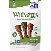 WHIMZEES Brushzees Daily Use Pack Dental Dog Treats, Extra Small, 28 count