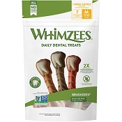 WHIMZEES Brushzees Daily Use Pack Dental Dog Treats, Medium, 7 count