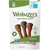 WHIMZEES Brushzees Daily Use Pack Dental Dog Treats, Small, 14 count