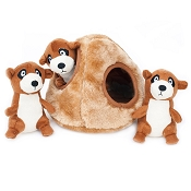ZippyPaws Burrow Hide and Seek Meerkat Den Squeaky Plush Dog Toy