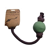 Beco Pets Ball with Rope Green Dog Toy, Large
