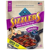 Blue Buffalo Sizzlers with Real Pork Bacon-Style Dog Treats, Super Size 15-oz
