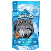 Blue Buffalo Wilderness Denali Biscuits with Wild Salmon, Venison & Halibut Grain-Free Dog Treats, 8-oz bag