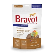 Bravo! Bonus Bites Venison Liver Freeze-Dried Dog & Cat Treats, 3-oz Bag