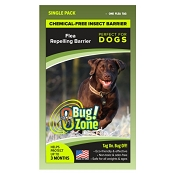 Bug Zone Flea Insect Barrier Chemical-Free Repellent for Dogs, Single Tag