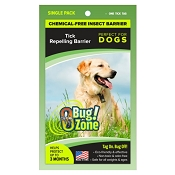Bug Zone Tick Insect Barrier Chemical-Free Repellent for Dogs, Single Tag