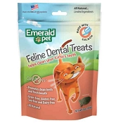 Emerald Pet Feline Dental Treats with Salmon Cat Treats, 3-oz bag