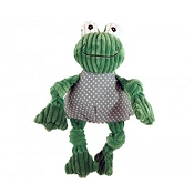 HuggleHounds Knotties Plush Frog Dog Toy, Large