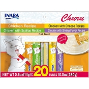 INABA Churu Chicken Recipe Lickable Creamy Puree Cat Treat Variety, 20 Tubes