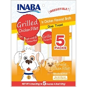 INABA Grilled Chicken Fillet in Chicken Flavored Broth Dog Treats, 5 Pack