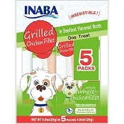 INABA Grilled Chicken Fillet in Seafood Broth Dog Treats, 5 Pack
