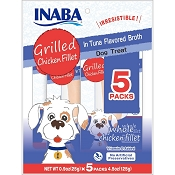 INABA Grilled Chicken Fillet in Tuna Flavored Broth Dog Treats, 5 Pack