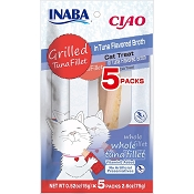 INABA Grain-Free Grilled Tuna Fillet in Tuna Flavored Broth Cat Treat, Package of 5