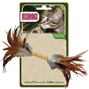KONG Naturals Straw Cylinder with Feathers Cat Toy
