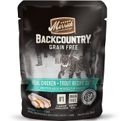 Merrick Backcountry Grain-Free Chicken + Trout Recipe in Gravy Cat Food Pouches, 3-oz, case of 24