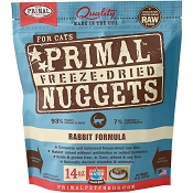 Primal Rabbit Formula Nuggets Grain-Free Raw Freeze-Dried Cat Food, 14-oz Bag