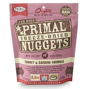 Primal Turkey & Sardine Formula Nuggets Freeze-Dried Dog Food, 5.5-oz Bag