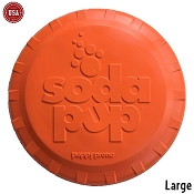 SodaPup Orange Bottle Top Flyer Made in USA Dog Toy, Large