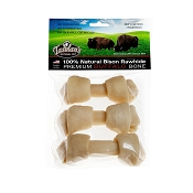 Tasman's Premium Bison Rawhide Knotted Bone Dog Chew Small, Pack of 3