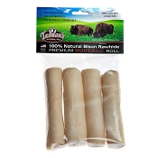 Tasman's Rawhide Rolls for Dogs made with USA Bison Hide, Small 4-5