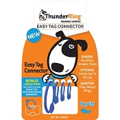 ThunderRing Easy Tag Connectors for Dog Tags  (4 Rings), Blue