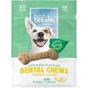 TropiClean Fresh Breath Advanced Cleaning Banana Flavor Dental Chews, Small