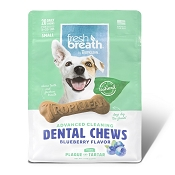 TropiClean Fresh Breath Advanced Cleaning Blueberry Flavor Dental Chews, Small