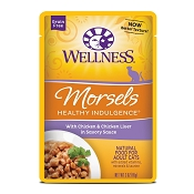 Wellness Healthy Indulgence Morsels with Chicken & Chicken Liver in Savory Sauce Grain-Free Wet Cat Food Pouches, 3-oz, case of 24