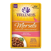 Wellness Healthy Indulgence Morsels with Tuna in Savory Sauce Grain-Free Wet Cat Food Pouches, 3-oz, case of 24