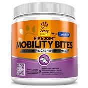 Zesty Paws Mobility Bites Hip & Joint Support Chews with Glucosamine, Chondroitin & MSM for Dogs, 90 count
