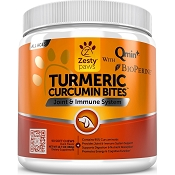 Zesty Paws Turmeric Curcumin Bites Joint & Immune Support with BioPerine Chews for Dogs, 90 count