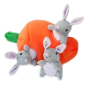 ZippyPaws Burrow Hide and Seek Bunny & Carrot Squeaky Plush Dog Toy